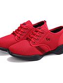 זול שעונים-בגדי ריקוד נשים נעלי ריקוד רשת סניקרס לריקוד שחבור נעלי ספורט שטוח מותאם אישית אדום / הצגה / אימון