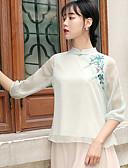 hesapli Gömlek-Kadın's İnce - Gömlek Çiçekli Beyaz