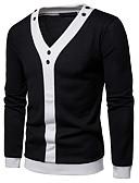 זול סוודרים וקרדיגנים לגברים-US38 / UK38 / EU46 / US40 / UK40 / EU48 / US42 / UK42 / EU50 לבן / שחור צווארון V סתיו / חורף אקריליק, קרדיגן רגיל נורמלי שרוול ארוך אחיד בגדי ריקוד גברים