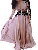 abordables Robes Soirée-Femme Basique Maxi Balançoire Robe - Imprimé, Bloc de Couleur Rose Claire S M L Manches Longues