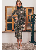 hesapli Print Dresses-Kadın's Kılıf Elbise - Geometrik Midi