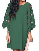 hesapli Print Dresses-Kadın's Temel A Şekilli Elbise - Solid Diz üstü