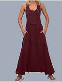 זול בגדי ים במידות גדולות-XXXL XXXXL XXXXXL אחיד, סרבלים רגל רחבה שחור יין ירוק צבא בסיסי בגדי ריקוד נשים