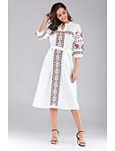 hesapli Print Dresses-Kadın's A Şekilli Elbise - Çiçekli Midi
