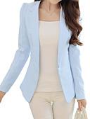 cheap Women's Coats & Trench Coats-Women's Blazer, Solid Colored Notch Lapel Polyester Black / Blushing Pink / Light Blue / Slim