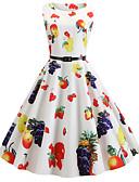 hesapli Tişört-Kadın's Vintage A Şekilli Elbise - Meyve, Kırk Yama Desen Diz-boyu
