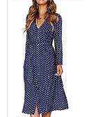 hesapli Print Dresses-Kadın's Kılıf Elbise - Yuvarlak Noktalı Midi