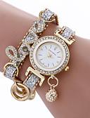povoljno Kvarcni satovi-modne žene djevojke metalni slučaj kožni Rhinestone narukvica kvarcni elegantan ručni sat