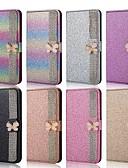 Недорогие Чехлы для телефонов-Кейс для Назначение SSamsung Galaxy A5(2018) / A6 (2018) / A6+ (2018) Кошелек / Бумажник для карт / Защита от удара Чехол Бабочка / Сияние и блеск Твердый Кожа PU