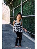 זול ילדים כובעים ומצחיות-סט של בגדים כותנה ללא שרוולים תחרה / גב חשוף / ripped משובץ דמקה פעיל / מתוחכם בנות פעוטות