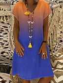 hesapli Mini Elbiseler-Kadın's Vintage Temel Kombinezon Elbise - Zıt Renkli Diz-boyu