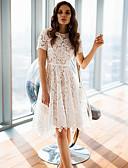 hesapli Mini Elbiseler-Kadın's Temel A Şekilli Elbise - Geometrik, Dantel Diz-boyu