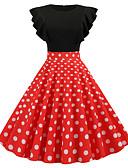 hesapli Vintage Kraliçesi-Kadın's Vintage A Şekilli Elbise - Solid Yuvarlak Noktalı, Kırk Yama Diz-boyu