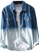זול חולצות לגברים-אחיד / קשירה וצביעה רוק / סגנון רחוב כותנה, חולצה - בגדי ריקוד גברים ג'ינס פול / שרוול ארוך