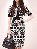 hesapli Print Dresses-Kadın's Zarif Kılıf Elbise - Geometrik, Desen Diz-boyu