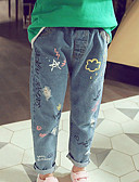baratos Moletons Para Meninas-Infantil Para Meninas Básico Sólido Jeans Azul