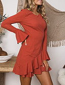 olcso Mini ruhák-Női Ízléses Elegáns A-vonalú Hüvely Ruha - Fodrozott, Egyszínű Térd feletti