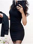 hesapli Print Dresses-Kadın's Temel Kombinezon Kılıf Elbise - Solid Mini