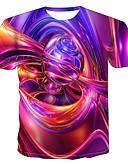 hesapli Erkek Tişörtleri ve Atletleri-Erkek Yuvarlak Yaka Tişört Desen, Zıt Renkli / 3D / Grafik Sokak Şıklığı / Punk ve Gotik Gökküşağı / Kısa Kollu