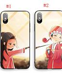 זול מגנים לאייפון-מארז עבור iPhone 6 / iPhone xs מקסימום דפוס חזרה כיסוי קריקטורה קשה מזג זכוכית עבור iPhone 6 / iPhone 6 פלוס / iPhone 6s