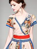 hesapli Print Dresses-Kadın's Temel Çin Stili A Şekilli Çan Elbise - Solid Zıt Renkli, Kırk Yama Desen Midi