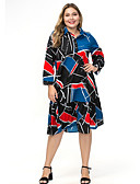 hesapli Maksi Elbiseler-Kadın's Gömlek Elbise - Zıt Renkli Diz-boyu