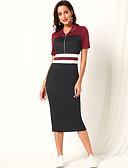 hesapli Print Dresses-Kadın's Temel Sokak Şıklığı Bandaj Elbise - Çizgili, Kırk Yama Midi
