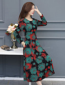 hesapli Print Dresses-Kadın's Çan Elbise - Çiçekli, Desen Midi