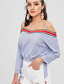 저렴한 티셔츠-여성용 줄무늬 / 컬러 블럭 티셔츠 밝은 블루 US6 / UK10 / EU38