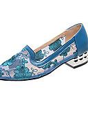 povoljno Nježna čipka-Žene Cipele na petu Kockasta potpetica Okrugli Toe PU Ljeto Crn / Plava