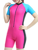 cheap One-piece swimsuits-Bluedive Women's Rash Guard Dive Skin Suit Diving Suit SPF50 UV Sun Protection Quick Dry Short Sleeve Front Zip Boyleg - Swimming Diving Surfing Patchwork Classic / High Elasticity