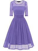 hesapli Vintage Kraliçesi-Kadın's sofistike Zarif A Şekilli Elbise - Solid Yuvarlak Noktalı, Dantel Midi