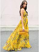 hesapli Maksi Elbiseler-Kadın's Temel Kılıf Çan Elbise - Solid Çiçekli, Arkasız Dantelli Kırk Yama Maksi