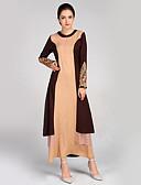 hesapli Maksi Elbiseler-Kadın's Boho Zarif Kılıf Abaya Kaftan Elbise - Zıt Renkli Kabile, Dantel Kırk Yama Maksi Siyah gri