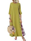 hesapli Büyük Beden Elbiseleri-Kadın's Sokak Şıklığı A Şekilli Elbise - Zıt Renkli, Kırk Yama Midi