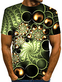 """זול טישרטים לגופיות לגברים-קולור בלוק / 3D / גראפי צווארון עגול סגנון רחוב / מוּגזָם מועדונים האיחוד האירופי / ארה""""ב גודל טישרט - בגדי ריקוד גברים דפוס ירוק בהיר / שרוולים קצרים"""