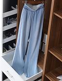 hesapli Kadın Pantolonl-Kadın's Temel Geniş Bacak Pantolon - Solid Açık Mavi M L XL