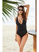זול בגדי ים במידות גדולות-שחור S M L אחיד, בגדי ים ביקיני שחור בגדי ריקוד נשים