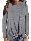 baratos Suéteres de Mulher-Mulheres Sólido Manga Longa Pulôver, Decote Redondo Outono / Inverno Preto / Branco / Roxo S / M / L