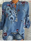 hesapli Gömlek-Kadın's Gömlek Yaka Gömlek Kırk Yama / Desen, Çiçekli Temel Dışarı Çıkma Havuz