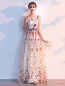preiswerte Abendkleider-A-Linie Spaghetti-Träger Boden-Länge Organza Abiball Kleid mit durch LAN TING Express