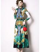 hesapli Print Dresses-Kadın's Temel Çin Stili A Şekilli Çan Elbise - Solid Zıt Renkli, Kırk Yama Desen Dantel Trim Midi