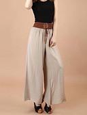 hesapli Tişört-Kadın's Salaş Geniş Bacak Pantolon - Solid Kırk Yama Düşük Bel Koyu Mavi Ordu Yeşili Haki L XL XXL