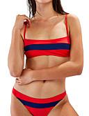hesapli Bikiniler ve Mayolar-Kadın's Siyah YAKUT Kahverengi Tankini Mayolar - Zıt Renkli S M L Siyah