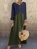 hesapli Maksi Elbiseler-Kadın's Temel Boho Kombinezon Çan Abaya Elbise - Zıt Renkli Maksi
