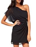 hesapli Mini Elbiseler-Kadın's Şık minimalist tarzı Soğuk omuz A Şekilli Elbise - Çizgili Tek Renk Tek Omuz Diz üstü