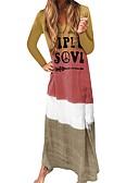 hesapli Mini Elbiseler-Kadın's Günlük Kombinezon Elbise - Zıt Renkli Harf V Yaka Maksi