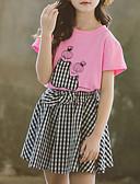 זול סטים של ביגוד לבנות-סט של בגדים כותנה קצר קצר שרוולים קצרים דפוס דפוס / משובץ דמקה פעיל / בסיסי בנות ילדים / פעוטות