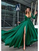 זול שמלות ערב-גזרת A צלילה עד הריצפה שיפון גב פתוח ערב רישמי שמלה עם פרטים מקריסטל / שסע קדמי על ידי LAN TING Express