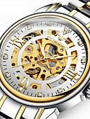halpa Mekaaniset kellot-Miesten mekaaninen Watch Automaattinen itsevetävä Muodollinen tyyli Ruostumaton teräs Musta / Hopea / Kulta 50 m Hollow Engraving Iso näyttö Analoginen Ylellisyys Muoti - Kulta Musta Hopea